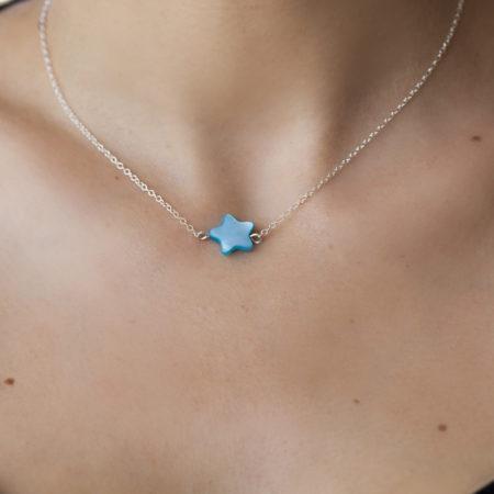 Collier femme – étoile nacre bleue – argent 925