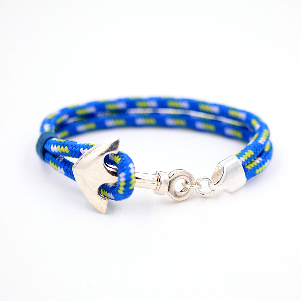 bracelet homme – ancre et cordon bleu – argent 925