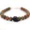 bijou homme - argent 925 - Perles pierre gemme unakite - tête de mort Swarovski