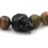 Bracelet homme – Tête de mort noir et unakite – ARGENT 925