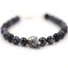 Bracelet homme – Tête de mort chromé et obsidienne – ARGENT 925