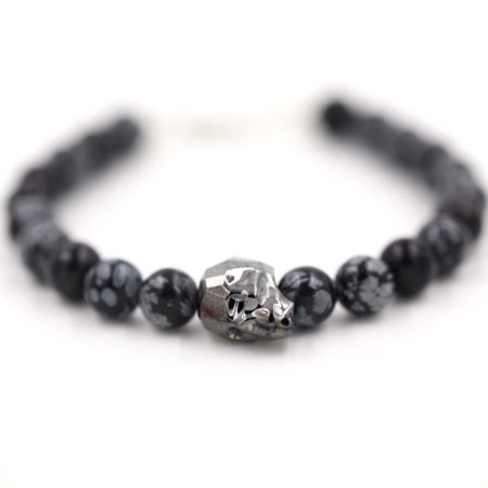 bijou homme – argent 925 – Perles pierre gemme Obsidienne Mouchetée – tête de mort Swarovski