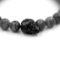 bijou homme - argent 925 - Perles pierre gemme Obsidienne Mouchetée - tête de mort Swarovski