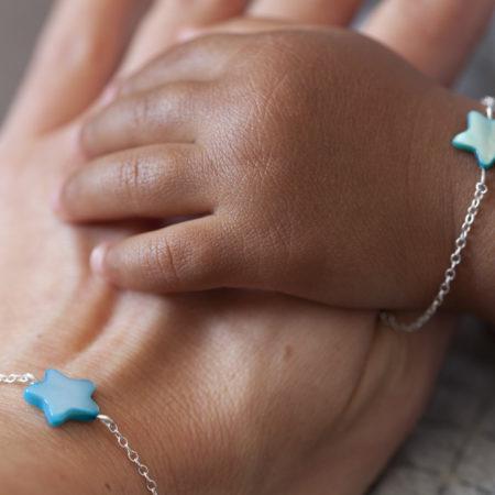 Duo maman bébé – étoile nacre bleue – argent 925