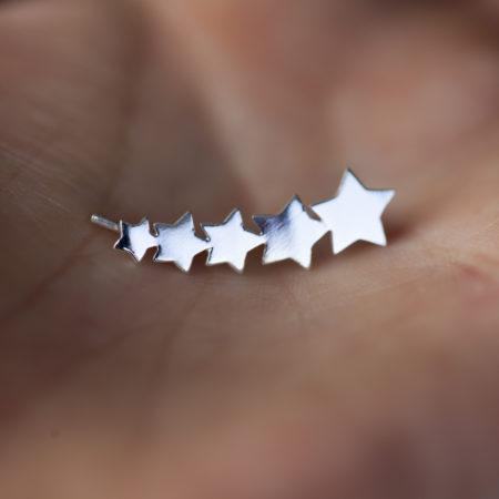 Boucles d'oreilles grimpantes – Étoiles – ARGENT 925