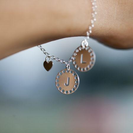 Bracelet MAMAN – Médailles initiales – ARGENT 925 – J L