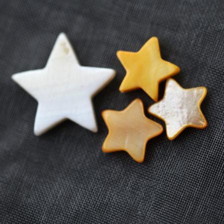 Duo de bracelets MAMAN BÉBÉ – Étoile nacre jaune – ARGENT 925