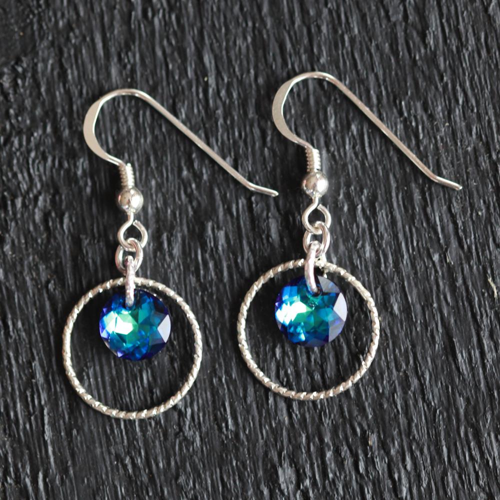 Boucles d'oreilles – Swarovski Crystal Bermuda Blue – ARGENT 925